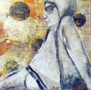 Paper, ink, charcoal and paint on wood